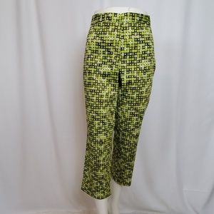 Sigrid Olsen Green Geometric Print Crop Pants